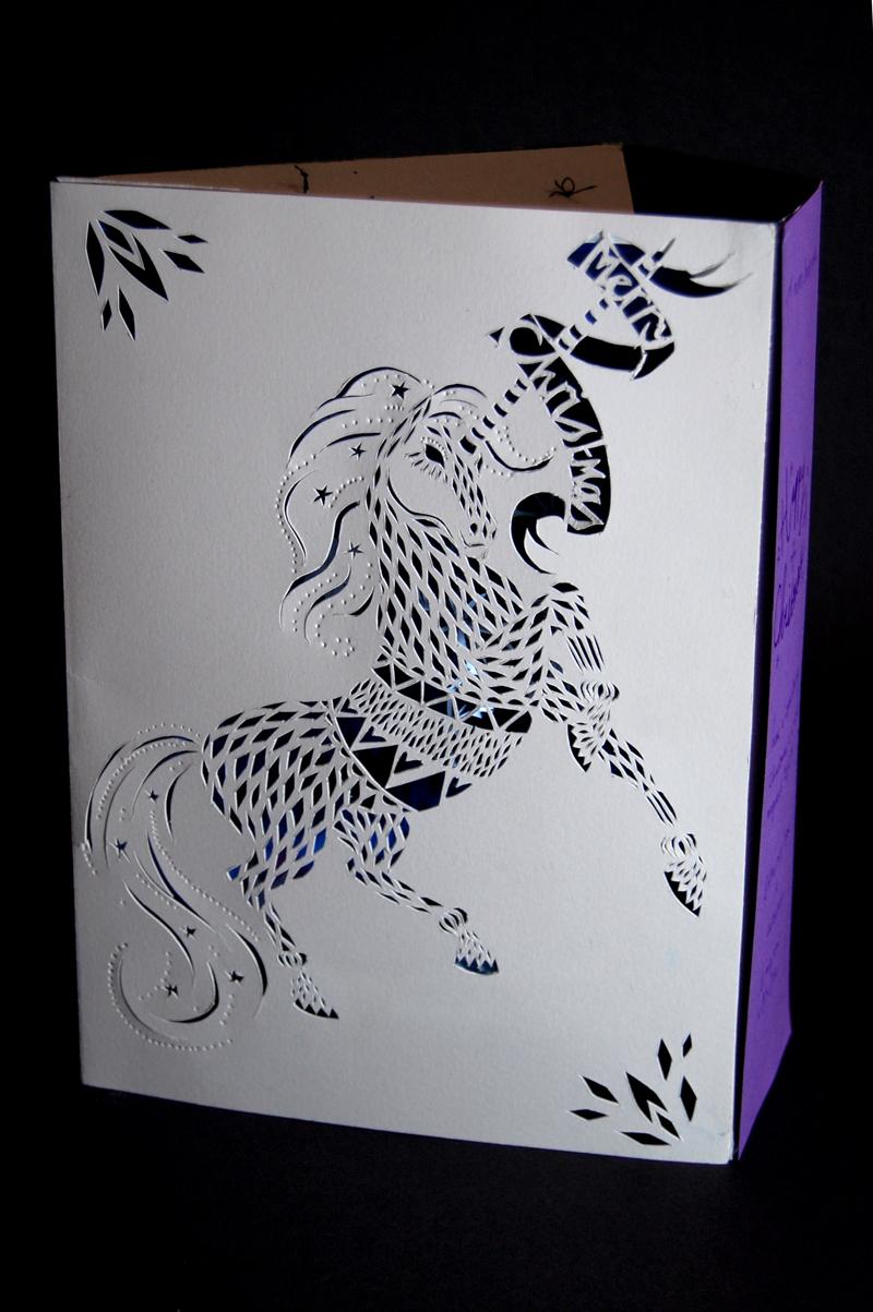 Papercut Unicorn Christmas Card by Layla Holzer