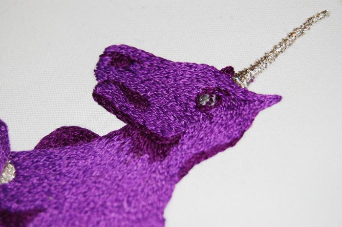 Unicorn Embroidery: Purple