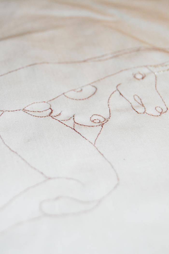 Human Hair Embroidery Unicorn