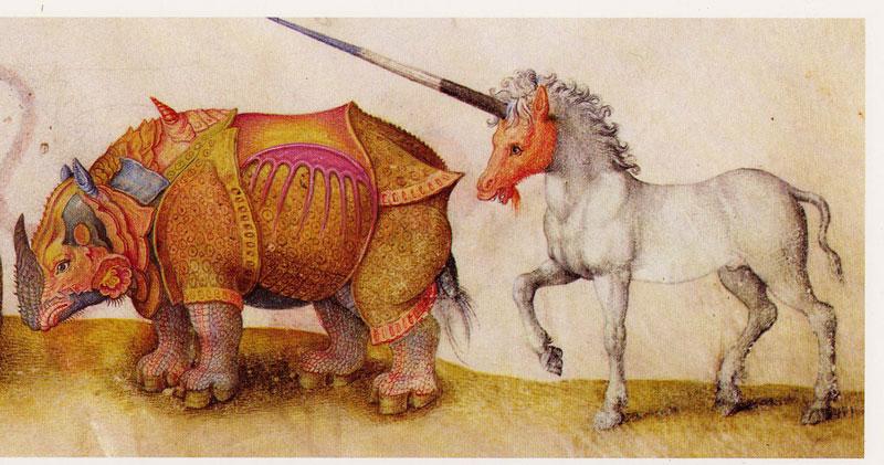 Rhino and a Unicorn Medieval Manuscript